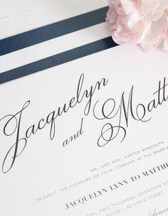Navy Wedding Invitations with Script Names - perfect for a vintage wedding!  Love that the liner color and pattern can be changed.