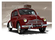 Renault 4cv Maserati, Vintage Cars, Antique Cars, Toyota, Porsche, 1955 Chevy, Old School Cars, Car Museum, Car Illustration
