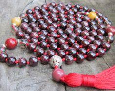 Garnet Mala Necklace Root Chakra Healing Mala Garnet Yoga Meditation Mala Prayer Bead 108 Garnet Hand knotted Mala Necklace Chakra 108 Mala