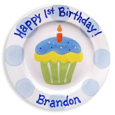 Celebrate their 1st birthday with this personalized hand-painted plate! http://www.magicalmomentsboutique.com/item_554/1st-Cupcake-Boy-by-Little-Worm-Company.htm