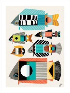 Erik Abel Print – Fish School 1 – 18×24