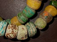 Green and yellow Hebron African trade beads by OasisAfricanTrade