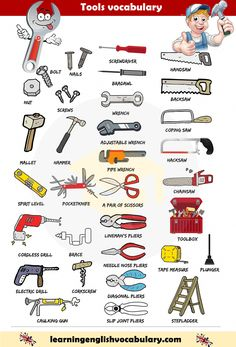 Learning the vocabulary for tools, equipment and home supplies using pictures with English words Learning English For Kids, Teaching English Grammar, English Writing Skills, English Vocabulary Words, Learn English Words, English Language Learning, Math Vocabulary, English Tips, English Study