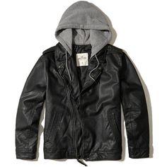 Hollister Vegan Leather Hooded Moto Jacket ($70) ❤ liked on Polyvore featuring men's fashion, men's clothing, men's outerwear, men's jackets, black, men, mens motorcycle jacket, mens faux leather biker jacket, mens rider jacket and mens jackets