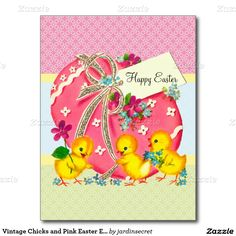 Vintage Chicks and Pink Easter Egg Custom Message Postcard