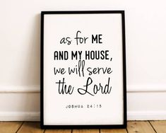 Items similar to Me And My House We Will Serve The Lord Bible Verse Wall Art, Bible Verses, Christian Families, Serve The Lord, Digital Form, Frame Display, Frame It, Printable Wall Art, My House