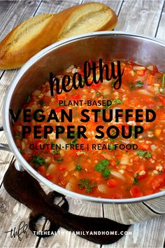 This healthy plant-based Vegan Stuffed Pepper Soup is an easy comfort food recipe to make and it can be made in under 20 minutes using an Instant Pot to prepare Healthy Vegetable Recipes, Healthy Gluten Free Recipes, Easy Soup Recipes, Vegan Gluten Free, Whole Food Recipes, Dairy Free, Kidney Recipes, Nut Free, Vegetarian Recipes