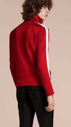 Stripe Detail Zip Front Jacket Cranberry Red | Burberry