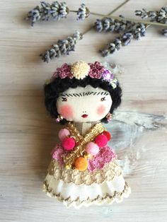 Collier de gipsy & broche Frida Kahlo (2)