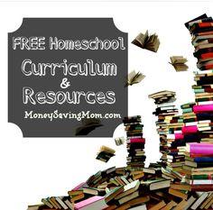 HUGE list of FREE homeschool curriculum & resources!