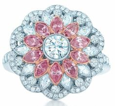 Tiffany & Co, Tiffany and Co, Tiffany's, Blue Book, diamonds, morganite, floral, foliate, leaves, pink, bride, bridal, wedding, princess, ring, engagement ring, cocktail ring, diamond ring, pink diamond