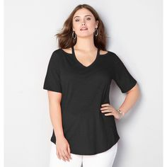 Avenue Plus Size Cut It Out Tee ($20) ❤ liked on Polyvore featuring tops, t-shirts, black, plus size, plus size long t shirts, long tee, plus size tees, plus size t shirts and cotton t shirts