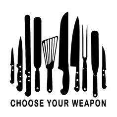 CHOOSE YOUR WEAPON (chef cook pastry uniform coat pants gift knifes set) T-SHIRT