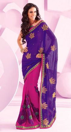 Contemporary Deep Purple, Pink Chiffon Embroidered #Saree