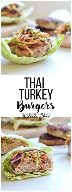 These Thai Turkey Burgers are compliant full of flavor and perfect for any summer barbecue! These Thai Turkey Burgers are compliant full of flavor and perfect for any summer barbecue! Whole Foods, Paleo Whole 30, Paleo Recipes, Whole Food Recipes, Cooking Recipes, Dishes Recipes, Recipes Dinner, Free Recipes, Lean Recipes