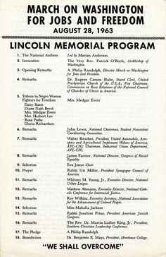 March on Washington for Jobs and Freedom, 1963 - Lincoln Memorial Program