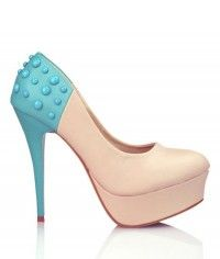 Blue Smarties - Womens blue and nude platform high heel shoes