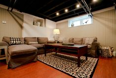 basement ceiling ideas | Basement Remodel + Exposed Ceiling Design Ideas, Pictures, Remodel ...