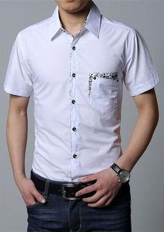 Camisa Manga Corta Casual - Detalles Florales Fashion - en Blanco, Negro y Purpura