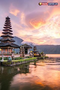 The famous Hindu temple, Pura Ulun Danu Bratan is a tourist attraction in Bali, Indonesia. The dramatic skies and tranquil waters in the evening provide the best scenery to engage in worship. #bali #indonesia #hindu #temple #scenery #itsallabouttravel #travelcenteruk
