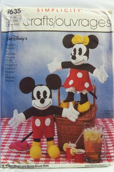 "Simplicity 7635 18"" Mickey Mouse and Minnie Mouse Dolls"