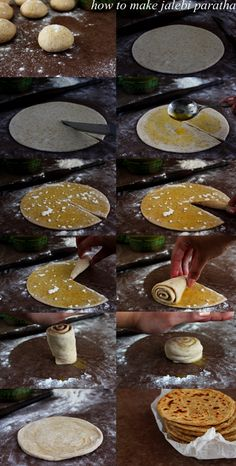 Jalebi Paratha Makes 10 Ingredients chapatti flour, plus more for rolling ghee, melted plus more for rolling and cooking Pinch of salt boiling water Indian Desserts, Indian Sweets, Indian Snacks, Indian Dishes, Indian Breads, Veg Recipes, Indian Food Recipes, Cooking Recipes, Paratha Recipes
