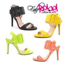 Burst of Colors in Oversized Buckle Sandal Heels from www.FabRebel.com