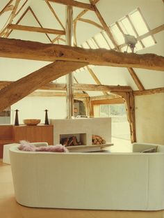modern barn conversion by Pyle Architects - Projects - Private House in a Historic Barn, Henham, Suffolk, UK Building Renovation, Barn Renovation, Room Color Schemes, Room Colors, Interior Architecture, Interior And Exterior, Interior Design, Conservation Architecture, Barn Living
