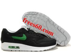 frees60.com for half off nike shoes $59.11 , Mens Nike Air Max 1 Black Victory Green White Shoes