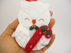 Personalized Baby's First Christmas Felt Owl Ornament by ynelcas