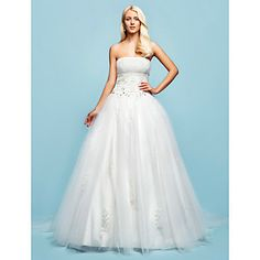 Ball Gown Strapless Chapel Train Tulle Wedding Dress With Removable train – USD $ 299.99