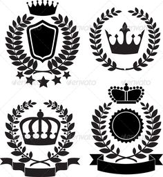 Black Silhouettes of Award Label with Crown #GraphicRiver Black silhouettes of award lable with crown, laurel wreath and ribbon.