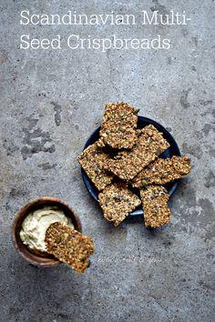Scandinavian Multi-Seed Crispbread Recipe with A Fragrant Twist - food to glow Healthy Crackers, Homemade Crackers, Healthy Snacks, Healthy Fats, Bread Recipes, Vegan Recipes, Cooking Recipes, Crispbread Recipe, Twisted Recipes