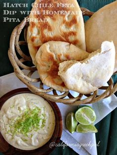 Post image for Hatch Chile Feta Dip with Homemade Pita Bread