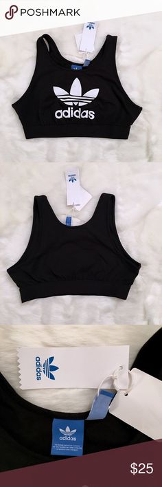 New Adidas Trefoil Sports Bra New with tags. Medium size. PRICE IS FIRM thank you :) Very comfortable and great for the sports look. It's defect free and from a smoke free and and a pet free clean home.   Specifications:  ♡ Scoop neck  ♡ Trefoil logo ♡ Thick elastic waistband  ♡ New with tags  ♡ 95% cotton, 5% spandex Adidas Other