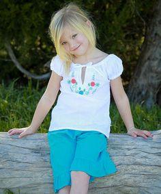 Look at this #zulilyfind! White & Aqua Betty Peasant Top & Pants - Infant, Toddler & Girls #zulilyfinds
