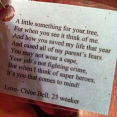Adaptable poem for thank you gift for NICU nurses and staff.