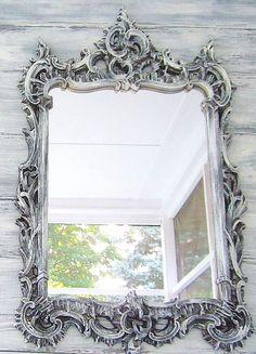 DECORATIVE VINTAGE MIRROR Menu Board Black Vintage Mirror Mantel Bathroom Vanity Mirror Gothic Wedding Ornate Decorative Oriental Decor. $198.00, via Etsy.