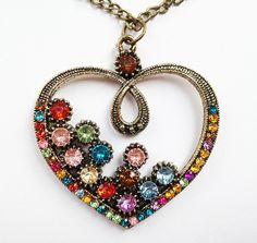 £5.00 OrangeTopped Heart Necklace