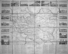 """ENRICO CORTY  """"Carta della Provincia di Bologna con tutte le Parrocchie della Diocesi, disegnata e incisa da Enrico Corty"""" 1850"""