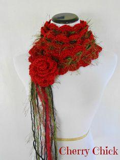 Rose Hand Crocheted Lariat Scarf by #VintageCherryShop