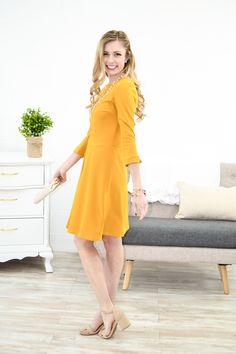 Mustard A-Line Pleat Dress