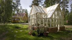 Greenhouse from old windows and bricks Old Window Greenhouse, Greenhouse Shed, Anton, Chicken Shed, Chicken Houses, Diy Conservatory, Outdoor Spaces, Outdoor Living, Willow Garden