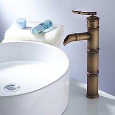 Antique Brass Finish Bathroom Sink Faucet - Bamboo Shape Design…