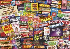 Collection of retro sweet & chocolate bar wrappers