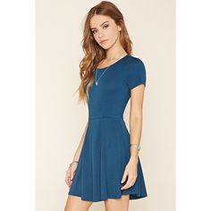 Forever 21 Women's  Stretch Knit Skater Dress ($13) ❤ liked on Polyvore featuring dresses, blue dress, cutout back dress, short-sleeve skater dresses, blue skater dress and short sleeve skater dress