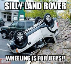 I'm a Landy AND Jeep owner and this makes me giggle. But I know lots of people who'd get very upset with that. Jeep Xj, Jeep Cherokee Xj, Jeep Truck, Wrangler Jeep, Meme Jeep, Jeep Humor, Jeep Funny, Jeep Quotes, Pink Jeep