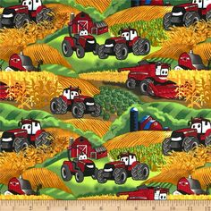 Case IH Kid's Farm Scenic Multi from @fabricdotcom  Licensed by Case IH to Fabrique Innovations, Inc., this cotton print fabric is perfect for quilting, apparel and home decor accents. Colors include red, white, blue, black, grey, green and yellow. This is a licensed fabric and not for commercial use.
