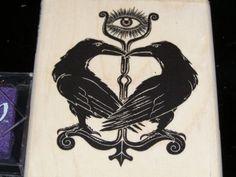 Pair of Ravens Huginn and Muninn wood mounted by nahanibluette