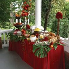 So pretty ~ I know this is tropical but done with evergreens it would be perfect for a Christmas Tea buffet.